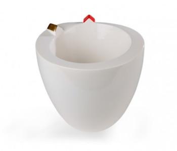 Slingerland Vase, white vase with small houses