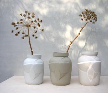 Designer vase with hole Landheer ceramic