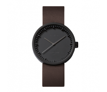 Piet Hein Eek Tube watch S38 by Piet Hein Eek, sturdy and refined Dutch design in black steel with brown leather strap