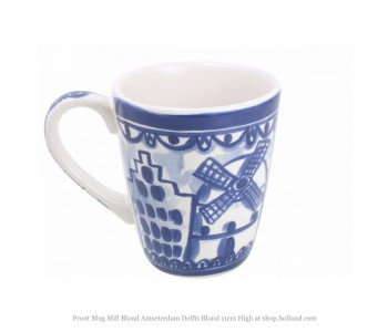 Cup depicting a mill and canal houses from the Delft Blond series by Blond Amsterdam in blue white