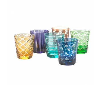 Pols Potten Tumbler of colored glass, set of 6 different glasses - unique gift idea