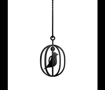 Happy Bird necklace black metal with 100% polyamide black pendant