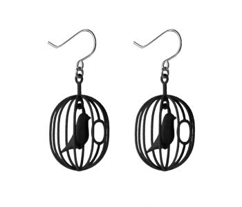 Happy Bird earrings black 3D printed polyamide and nickel-free silver-plated hooks