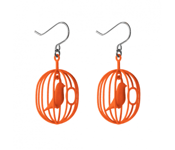 Typical Dutch: Happy Birds in a cage earrings in the colour orange
