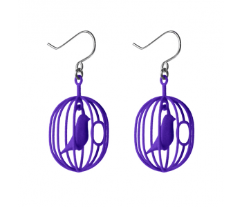 Happy Bird earrings indigo purple by Soonsalon