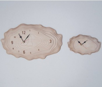 Wooden designer wall clock Bark Asymmetree