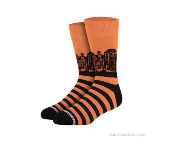 Grachtenpanden sokken oranje van Heroes on Socks - maat 36-40
