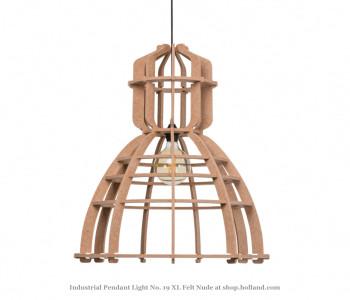 No. 19XL Industriële hanglamp in nude PET-vilt van Olaf Weller