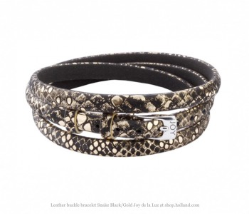 Joy de la Luz, leather strap, leatherware, black gold strap snake print