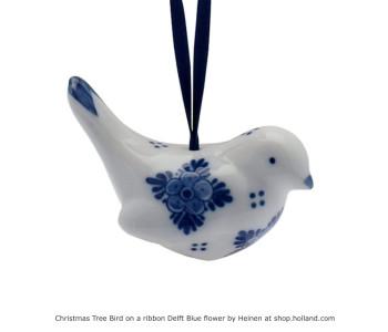 Delfts Blauw Kerstboom Vogeltjes met bloemen