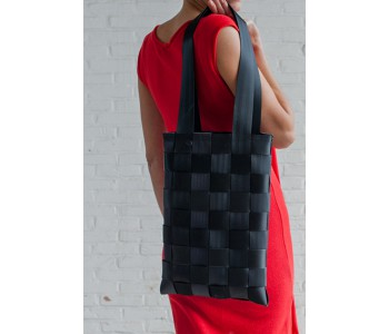 Sweatshop Deluxe bags, car belt shopping bag, black bag, sustainable bag
