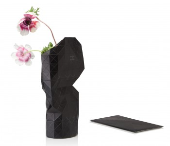Paper Vase Cover in black from Pepe Heykoop and Tiny Miracles Foundation