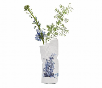 Paper Vase Cover in Delft Blue from Pepe Heykoop and Tiny Miracles Foundation