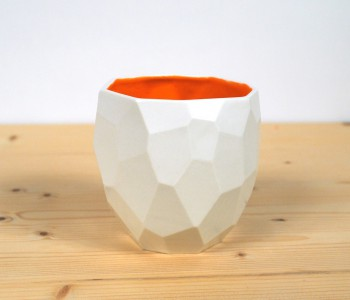 Polygon Coffee Cup by Studio Lorier - white and orange
