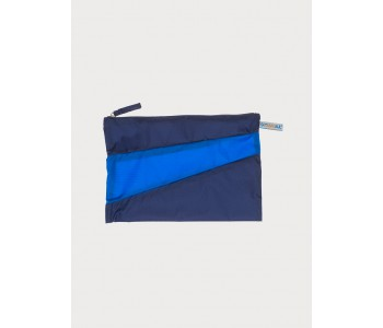 Large pouch by Susan Bijl in navy with blue colors