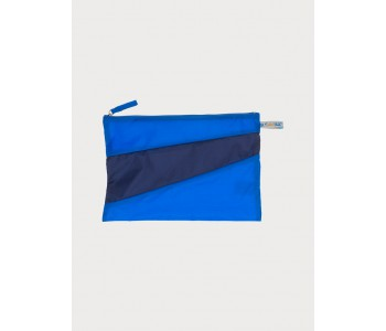 Large pouch by Susan Bijl in blue and navy colors