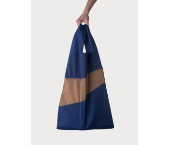 Nylon shopping bag Susan Bijl navy camel