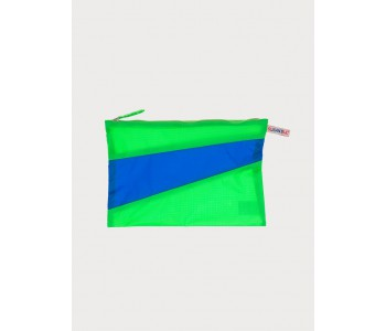 The new pouch by Susan Bijl in greenscreen blue black | Small pouch in bright blue and green