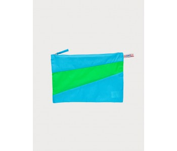 Big pouch in light blue and bright green