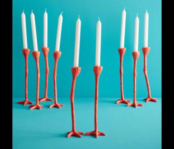 Set van 2 Long Legs kandelaars in de kleur oranje van Dutch designer Jasmin Djerzic voor sfeervolle lichtjes tijdens donkere dagen
