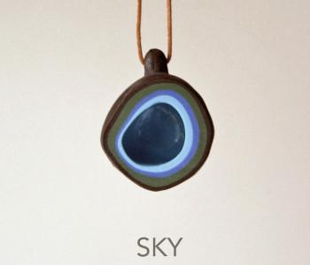wOrk Stone Cup hanger grijs lichtblauw porselein Sky blue