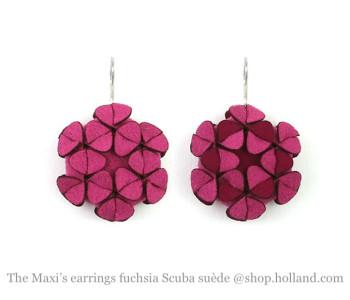 The Maxi's oorbellen in fuchsia roze scuba suède - blits cadeau
