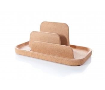 Storage tray or rack Table Island by Royal VKB made of cork.