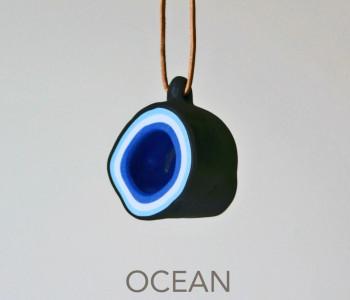 wOrk Stone Cup hanger grijs donkerblauw porselein Ocean blue