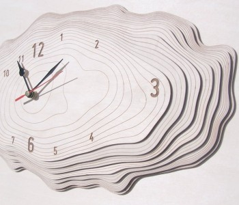 Wooden designer wall clock Bark medium Asymmetree