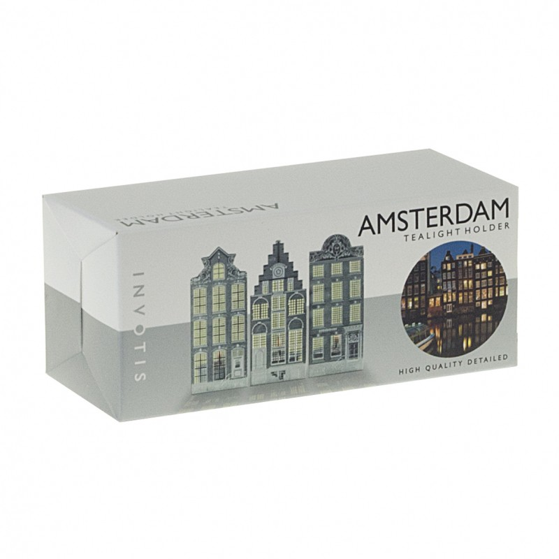 unique tea light holders modern holland design invotis homeware candle holders canal houses stainless steel find unique tealight holders amsterdam canal houses here