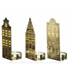 Tea Light Holders Canal Houses gold light - Set of 3 by Pols Potten