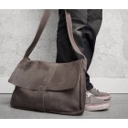 Big Business leather laptop bag by Keecie - Grey Brown