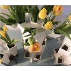 JVDV Tulip Vases in White and Bronze Pottery by Bas van Beek