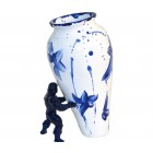 My Superhero Vase in contemporary Delft Blue by Jasmin Djerzic