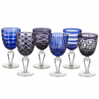 Pols Potten Wine Glass Cobalt Mix - set of 6 different glasses