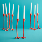 Long Legs candlesticks – Set of 2 in orange by Jasmin Djerzic
