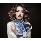 Scarf 'Who is afraid of blue' Delft blue - 100% silk
