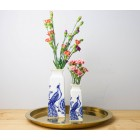 Delft Blue Vase - Peacock and Flowers