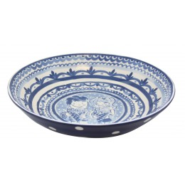 Deep, large, round bowl Delft Blond by Blond Amsterdam in blue white