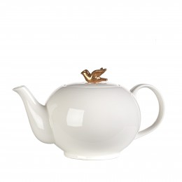 Porcelain teapot, Pols Potten, white with gold, tea set freedom birds