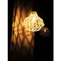 Holland design, 3D print, 3D printed lamp, open twist pattern.