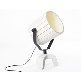 Barrel lamp with concrete base and wooden cap
