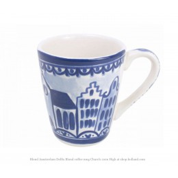 Cup depicting a church and canal house from the Delft Blond series by Blond Amsterdam