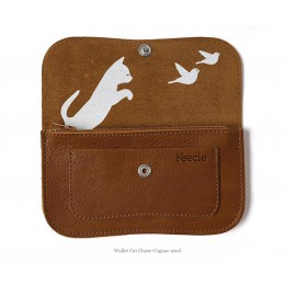 Cat Chase Wallet from Keecie in cognac color