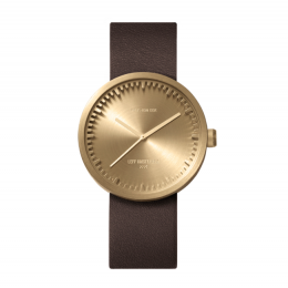 Brass Tube watch D38 with brown laether strap, Piet Hein Eek design for LEFF amsterdam, stylish design watch