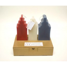 Design candle canalside house by Atelier OZO in red, white, and blue