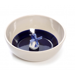 Delfbleu earthenware bowl with small windmill