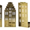 Gold coloured metal canal houses as tea light holders in set of 3 - typical Dutch gift