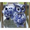 Pols Potten Piggy Bank Owl Delft blue porcelain at shop.holland.com