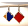Silver earrings in Mondriaan style by Dutch designer Nobeljo